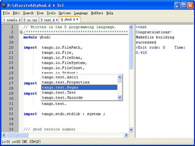SciTE4D Text Editor